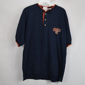 90s Mens Medium Detroit Tigers Henley Shirt Blue